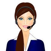 Vector illustration of smiling telephone operator