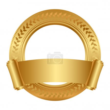 Illustration for Vector floral frame with gold scroll - Royalty Free Image