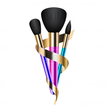 Vector illustration of colorful make-up brushes