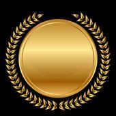 Vector gold medal and laurels on black background