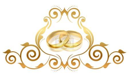 Illustration pour Cadre floral vectoriel avec anneaux dorés - image libre de droit