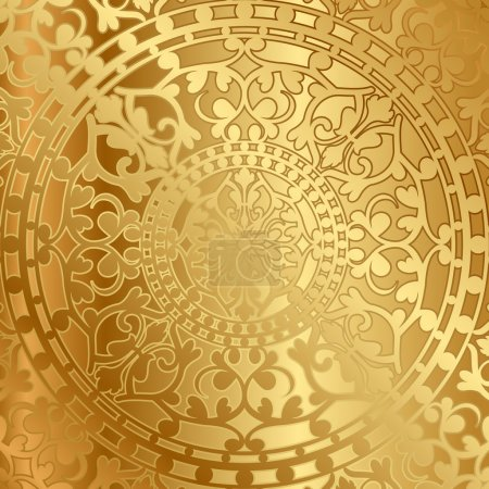 Illustration for Vector gold background with oriental decoration - Royalty Free Image