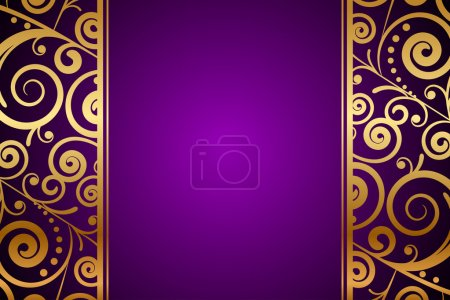 Illustration for Vector gold ornament on purple background - Royalty Free Image