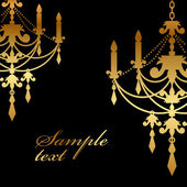 Vector black background with gold chandelier