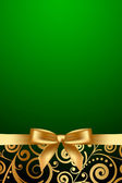 Vector green luxury frame with gold ribbon