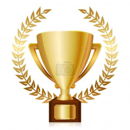 Vector illustration of gold shiny trophy and laurels