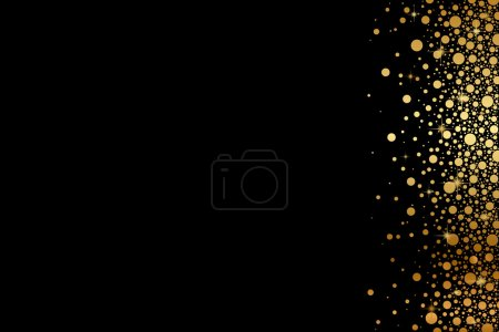 Vector black background with gold snow