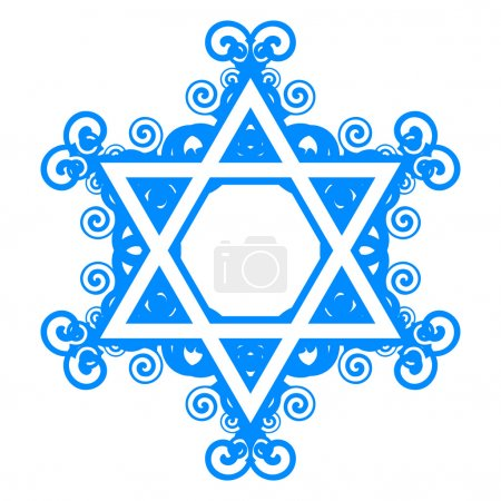 Vector star of David with floral decorations