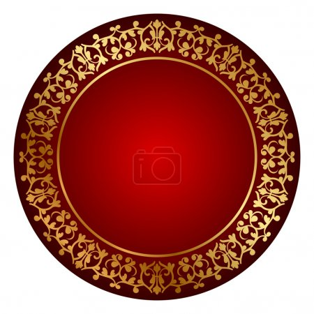 Vector red frame with gold ornament