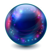 Blue sphere with multicolored glowing elements