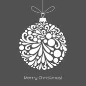 Vector Christmas decoration made from swirl shapes Unusual circle design element Greeting invitation card Simple decorative gray and white illustration for print web