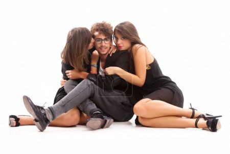 Two Young Attractive Women Kissing Man