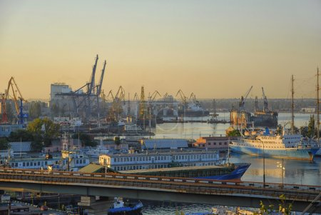 Odessa port at the sunset