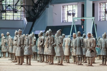 Broken terracotta warriors in Xian, China