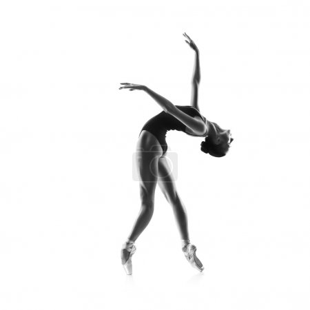 Photo for Beautiful woman ballet dancer isolated on studio white background - Royalty Free Image