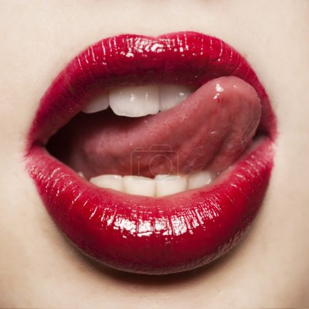 Photo for Glamour Red gloss lips closeup studio shoot - Royalty Free Image