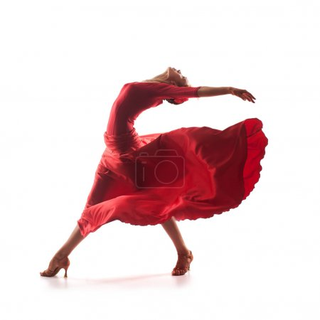 Photo for Woman traditional dancer wearing red dress isolated on white background - Royalty Free Image