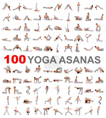 Set of yoga poses isolated on white background...