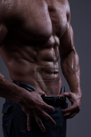Photo for Strong athletic man torso isolated on black background - Royalty Free Image