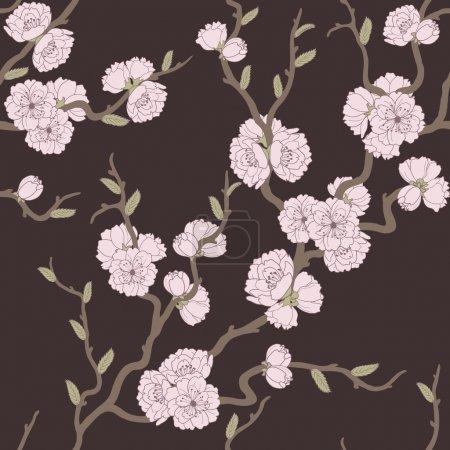 Photo pour Beau motif sans couture avec des fleurs et des feuilles de sakura - image libre de droit