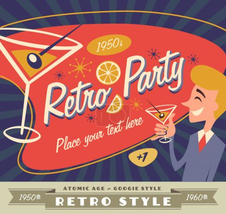 retro party vector with place for your text