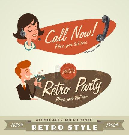 vintage and retro lables retro party