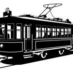 Vector black and white illustration of tram....