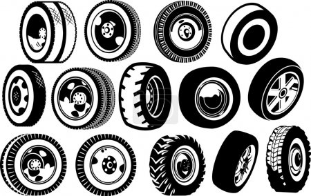 Illustration for A diverse set of options for wheels. black and white illustration. - Royalty Free Image