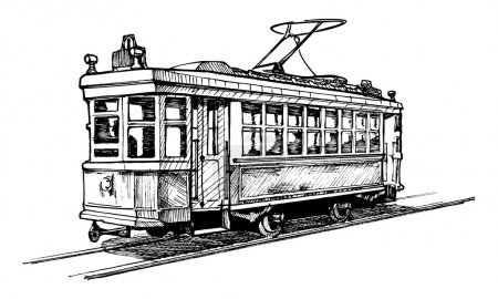 Illustration for Vector drawing of tram stylized as engraving. - Royalty Free Image