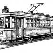 Vector drawing of tram stylized as engraving....