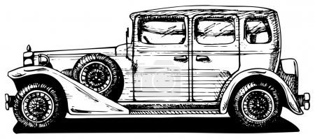Illustration for Vector drawing of vintage car stylized as engraving. Exterior. - Royalty Free Image