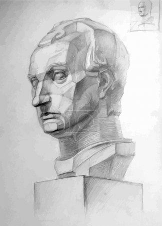 Illustration pour Dessin vectoriel imitant le dessin au crayon d'une tête Gattamelata en plâtre . - image libre de droit