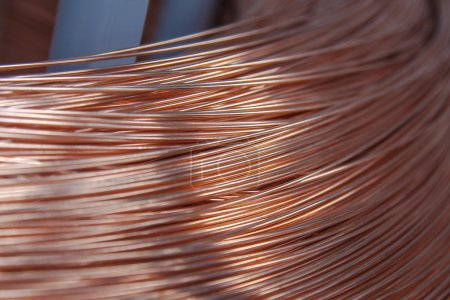 Photo for Copper wire spool in factory - Royalty Free Image