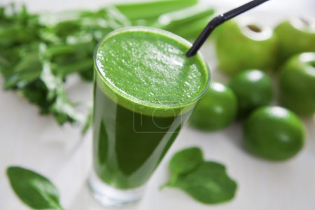 Photo for Healthy green celery, apple and lime juice - Royalty Free Image