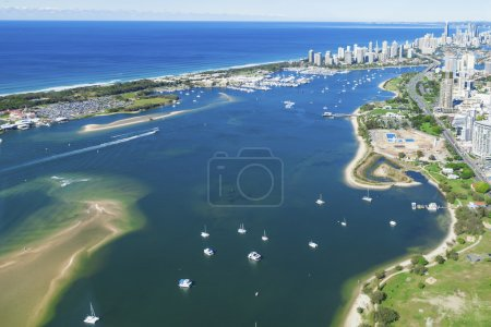 Photo for Aerial view of Gold Coast Broadwater, Queensland, Australia - Royalty Free Image