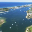 Aerial view of Gold Coast Broadwater, Queensland, ...