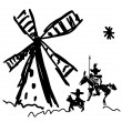 Schematic representation of Don Quixote and his sq...