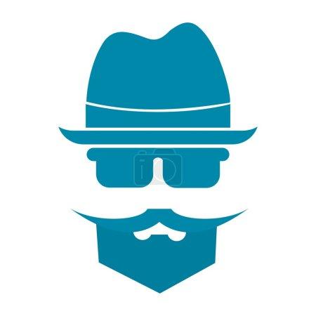 Illustration pour Homme avec barbe et moustache au chapeau - image libre de droit