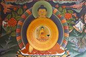 Nástěnná malba Buddhy v centrální bhutan gangtey goemba klášteře