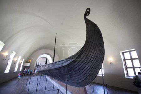 The Gokstad Viking ship in the Viking Ship Museum (Vikingskipshuset) in Oslo - Norway