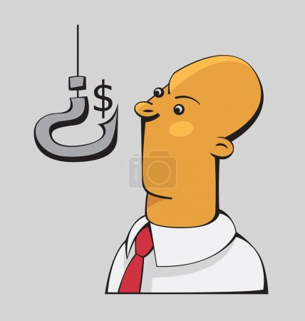 Illustration for Confused businessman is looking at the dollar sign on a hook shaped as a question mark - Royalty Free Image