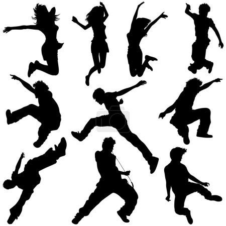Illustration pour Illustration vectorielle de jeunes heureux sautant, dansant, courant, s'exerçant et jouant de la guitare . - image libre de droit