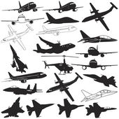 Vector illustration of airplane military jets and helicopter silhouettes set