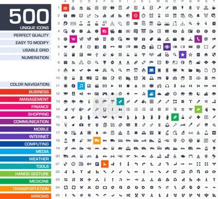 Illustration pour 500 icônes définies. vecteur des pictogrammes noirs pour web, internet, applications mobiles, design d'interfaces : affaires, finances, achats, communication, gestion, ordinateur, médias, outils graphiques, mains, symboles de flèches - image libre de droit