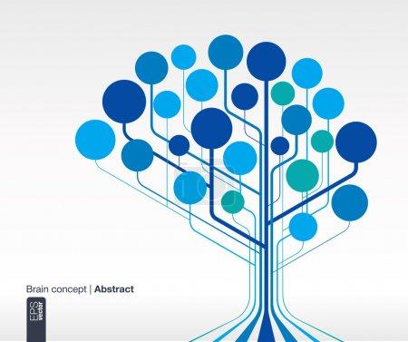 Illustration pour Fond abstrait avec des lignes et des cercles. Concept cérébral pour la communication, l'infographie, les affaires, la médecine, les médias sociaux, la technologie, le réseau et la conception Web. Illustration vectorielle . - image libre de droit