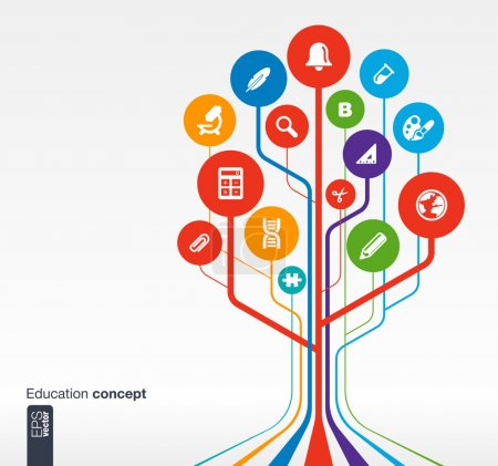 Photo for Abstract education background with lines, circles and icons. Growth tree concept with bell, school, science, calc, geography, biology, pencil and microscope icon. Vector illustration. - Royalty Free Image