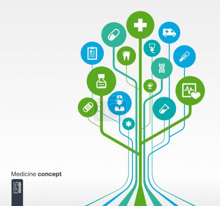 Photo for Abstract medicine background with lines, circles and icons. Growth tree concept with medical, health, healthcare, nurse, tooth, thermometer, pills and cross icon. Vector illustration. - Royalty Free Image
