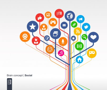 Photo for Abstract social media background with lines and circles. Brain concept with earth, network, computer, technology, like, mail, mobile and speech bubble icon. Vector infographic illustration. - Royalty Free Image