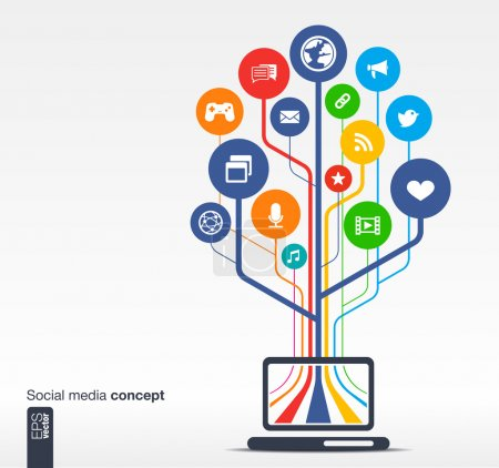 Photo for Abstract background with laptop, lines, circles and icons. Growth tree concept with social media, earth, network, computer, technology, like, mail, mobile and speech bubble icon. Vector illustration. - Royalty Free Image