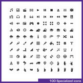 100 specialized icons set Vector black pictograms for web internet business computer and mobile apps interface design: media weather hands gestures graphic tools GPS navigation symbols